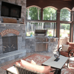 Interior Screen Porch, Fire Place and Grill in Mooresville, NC