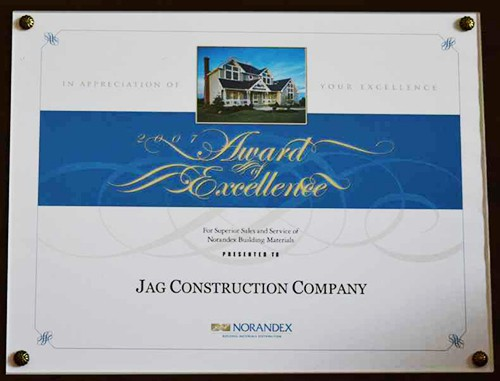 Award JAG Construction Norandex Building Materials