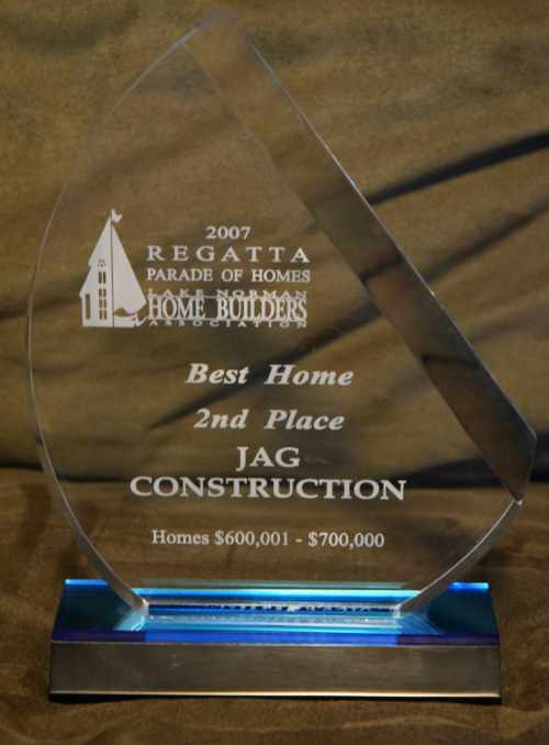 Award JAG Construction New Home Contractor Parade of Homes Regatta