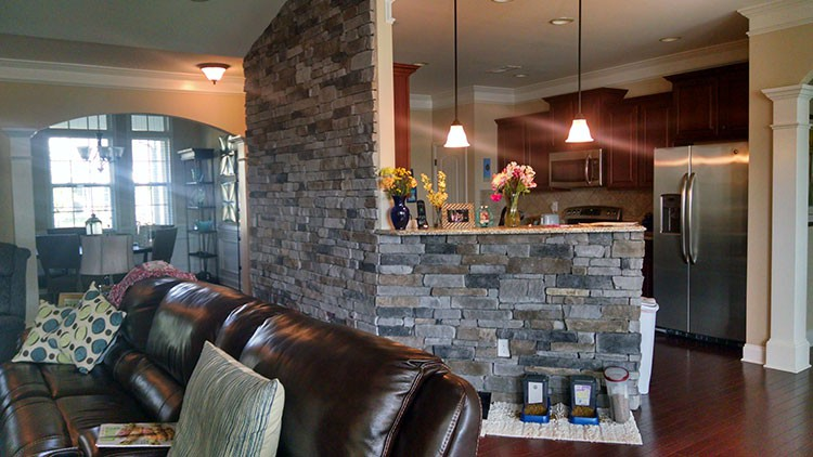 stone wall living room wall for living room in davidson lake norman 13712