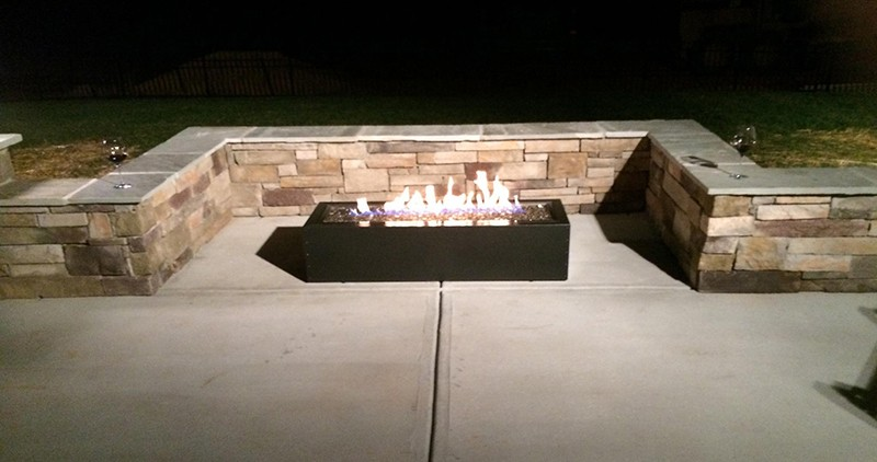 Covered Porch Fire Pit Nighttime View