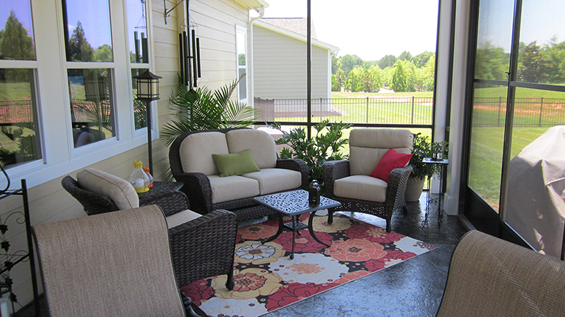 Interior of New Screen Porch in Charlotte