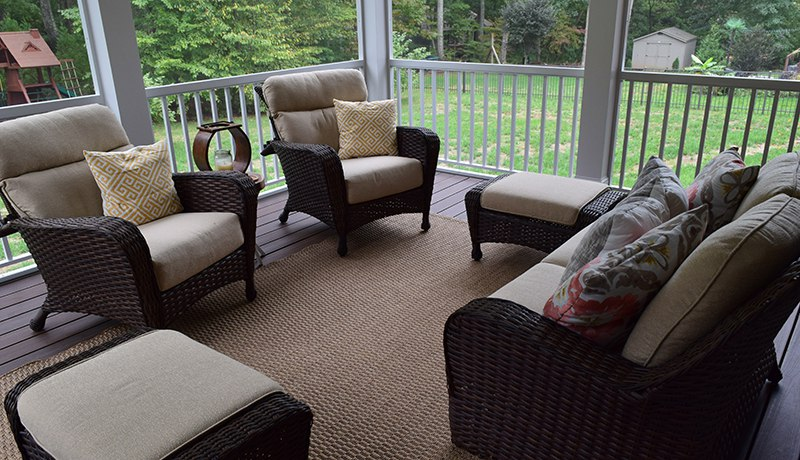 Interior of New Screen Porch in Davidson