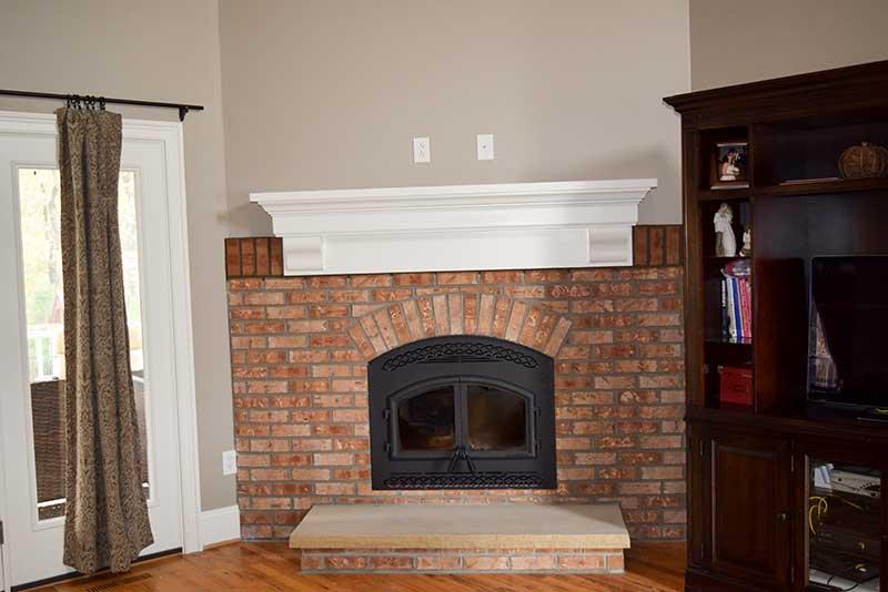 Roof Design Ideas: Charlotte Brick Fireplace Job