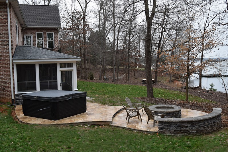 JAG Construction Mooresville 3 Seasons Room Hot Tub Fire Pit Area