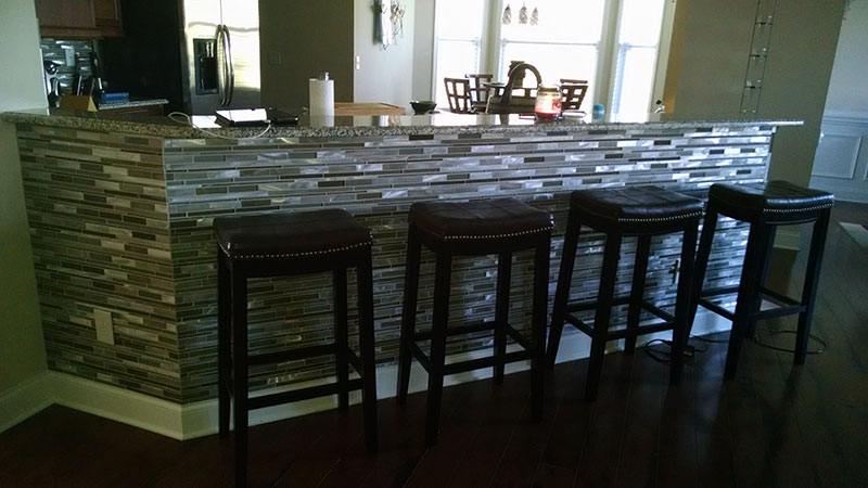 Knee Wall Bar, Kitchen Tile Renovation, Charlotte, NC