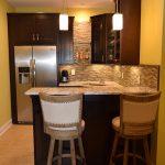 Basement Transformation Bar, Granite Counters, Tile Backsplash