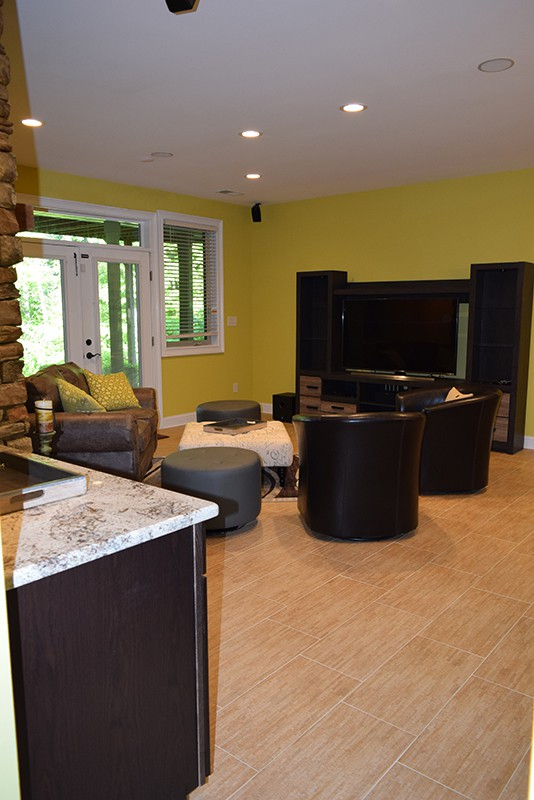 Mooresville Basement Remodeling with new Entertainment Center