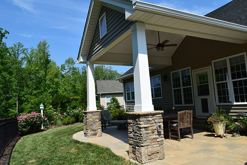 Finished Covered Porch Project in Cornelius, NC