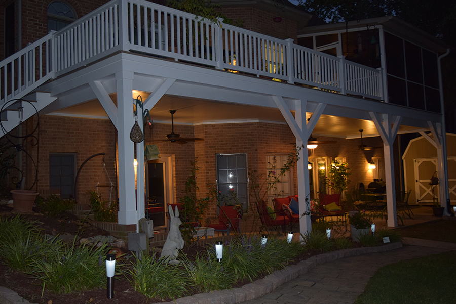 New Deck & New Porch Contractor shines at night