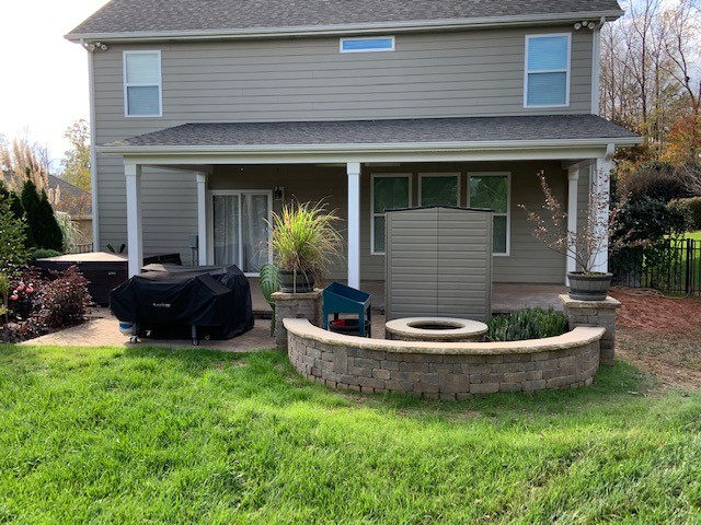 Charlotte Area Covered Porch with Added Firepit